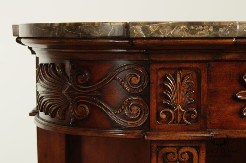 Domain Home Fashions Louis XIII Style Carved Marble Top Console with Shelf