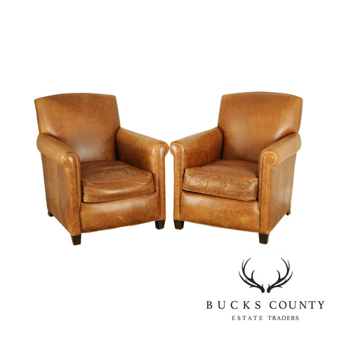 Cisco & Brothers Brown Leather Pair Lounge Chairs