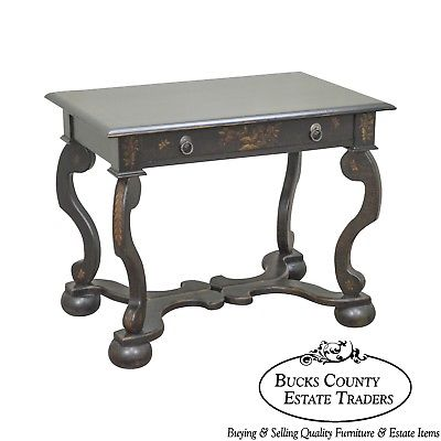 Drexel Heritage Painted Continental Baroque Style 1 Drawer Side Table