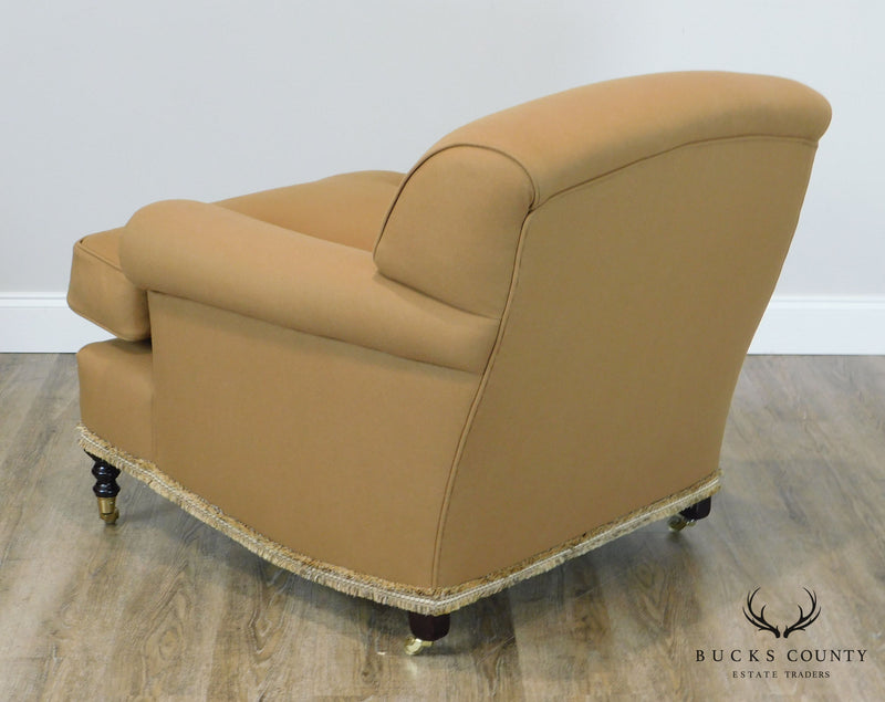 Custom Tan Upholstered Pair English Regency Style Lounge Chairs
