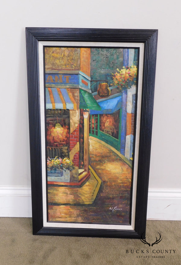 Framed Painting of Parisian Corner Restaurant and Ally Signed W. James