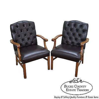 Quality Pair of Tufted Leather Chesterfield Chippendale Style Arm Chairs (A)