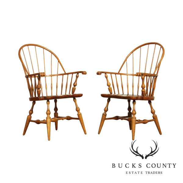 Ethan Allen Country Craftsman Pair Pine Windsor Armchairs