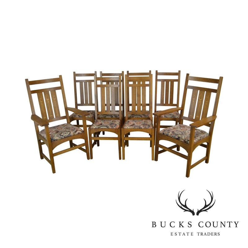 Stickley Mission Collection Set of 8 Oak Harvey Ellis Dining Chairs