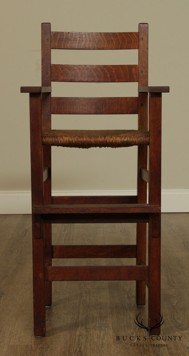 Gustav Stickley Antique Mission Oak High Chair Bucks