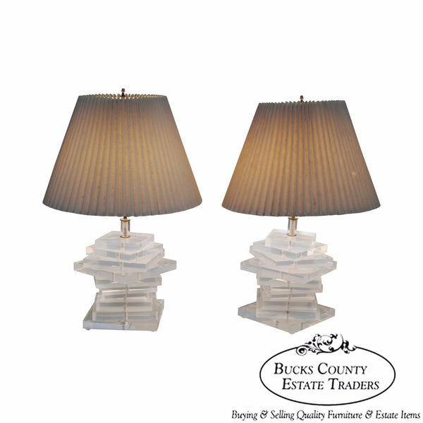 Mid Century Modern Pair of Stacked Lucite Table Lamps George Bullio