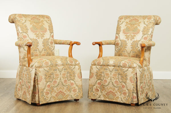 Quality Pair Custom Upholstered Host Armchairs