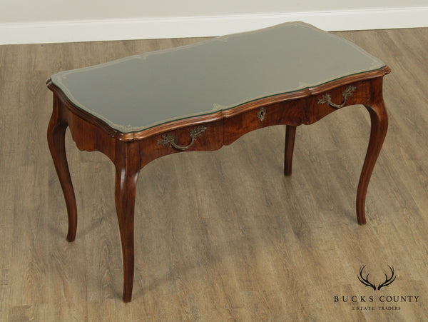 Louis XV Style Vintage Italian Walnut Leather Top Writing Table