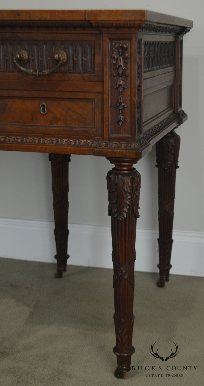 French Louis XVI Style Antique Carved Walnut Desk or Vanity