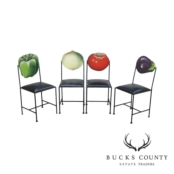 Wrought Iron Frame Set 4 Vegetable Back Bistro Dining Chairs