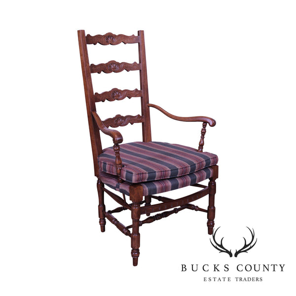French Country Style Oak Ladderback Armchair