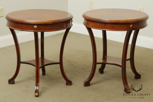 Colombo Mobili Pair Round Italian Neo-Classical Side Tables