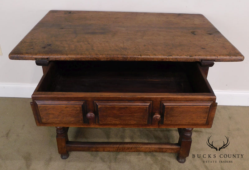 18th Century Antique French Walnut One Drawer Server Console Table