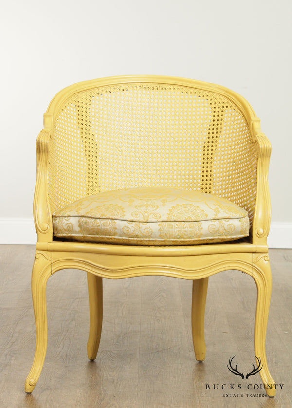 French Louis XV Style Yellow Painted Caned Bergere Chair
