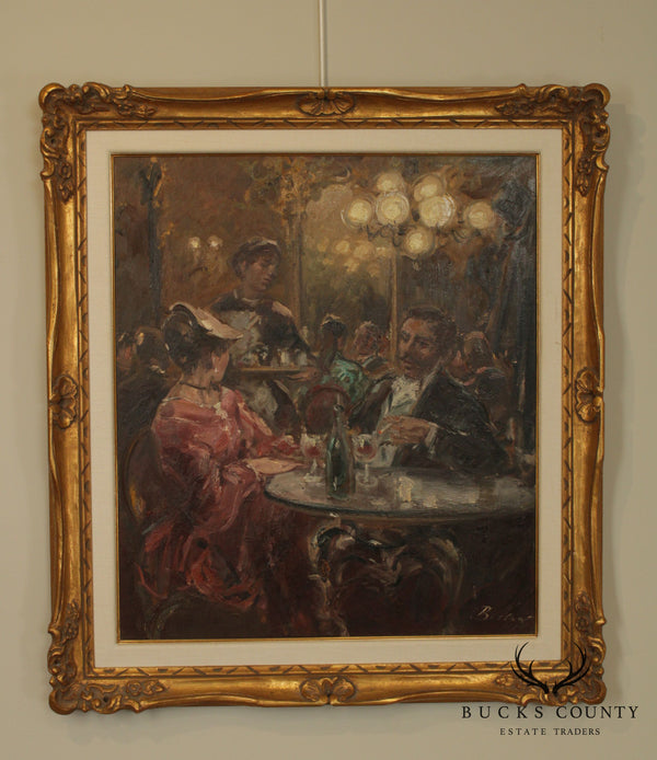 Impressionist Framed Oil Painting of Cafe Scene Signed Becker