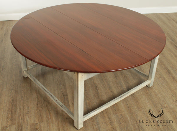 "Custom Crafted 70"" Round Walnut Top Farmhouse Style Table"