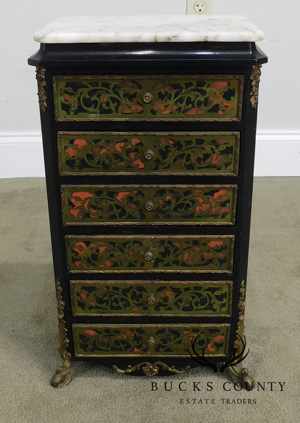 French Louis XIV Style Marble Top Brass Inlay Boulle Jewelry Chest