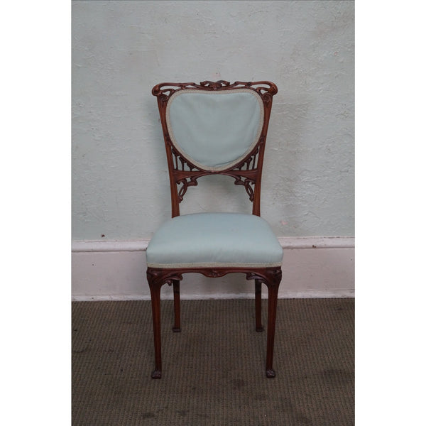 Fine Quality French Art Nouveau Carved Walnut Side Chair