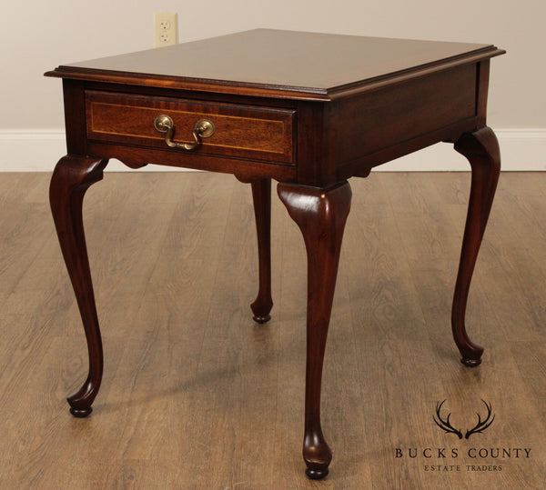 Quality Queen Anne Style Mahogany One Drawer Lamp Table