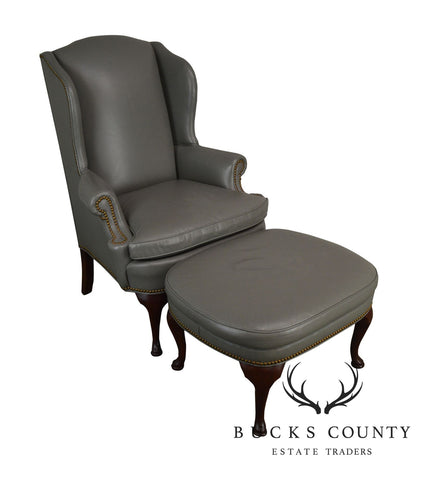 Thomasville Gallery Grey Leather Mahogany Queen Anne Wing Chair W/ Ottoman