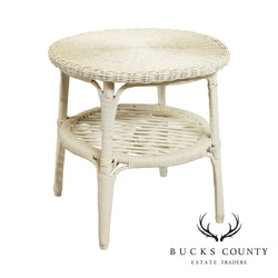 White Wicker Round Side Table