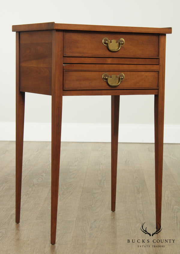 Henkel Harris Vintage Cherry 2 Drawer Side Table or Nightstand