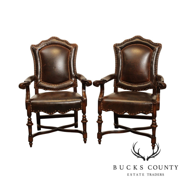 Spanish Renaissance Style Quality Brown Leather Pair Armchairs