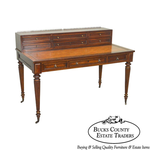Drexel Heritage Covington Collect. Regency Leather Top Mahogany Writing Desk (A)