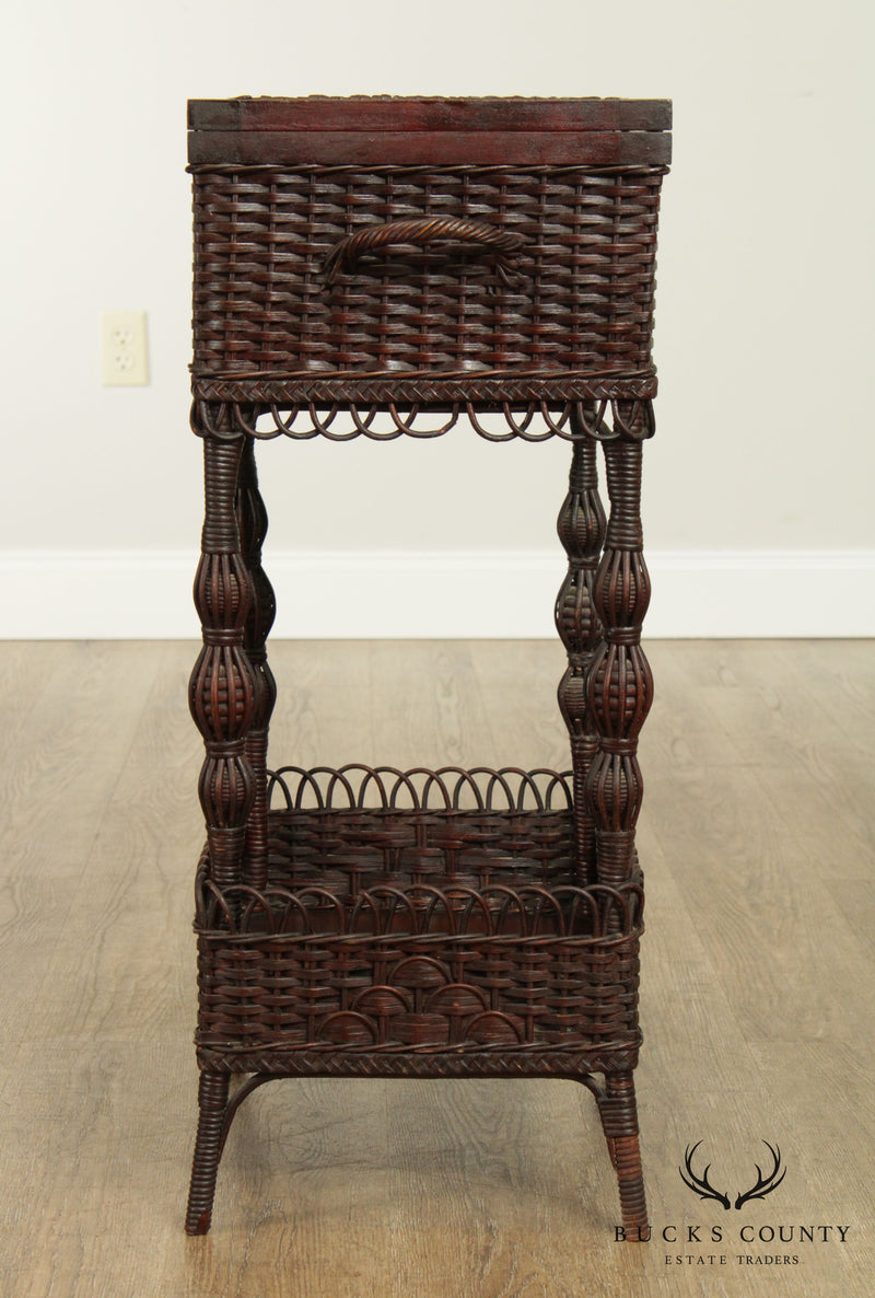 Antique Victorian Wicker Sewing Stand Side Table