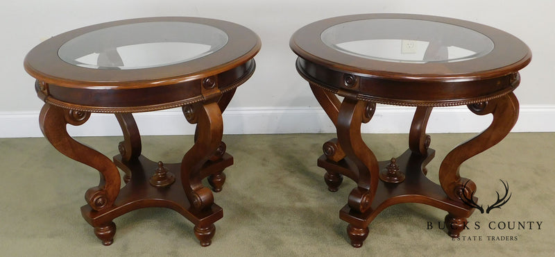 Victorian Style Round Cherry Glass Top Pair Side Tables