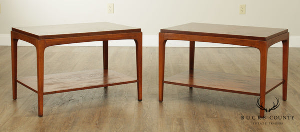 Lane Mid Century Modern Walnut Pair Side Tables