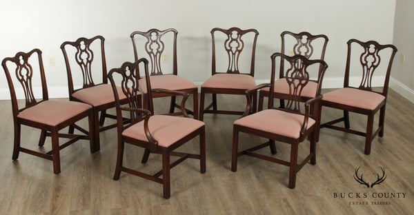 Flint & Horner Vintage 1930's Chippendale Style Set 8 Mahogany Dining Chairs