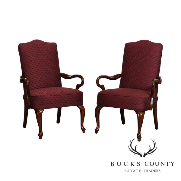 Les Brown Mahogany Queen Anne Style Pair Armchairs