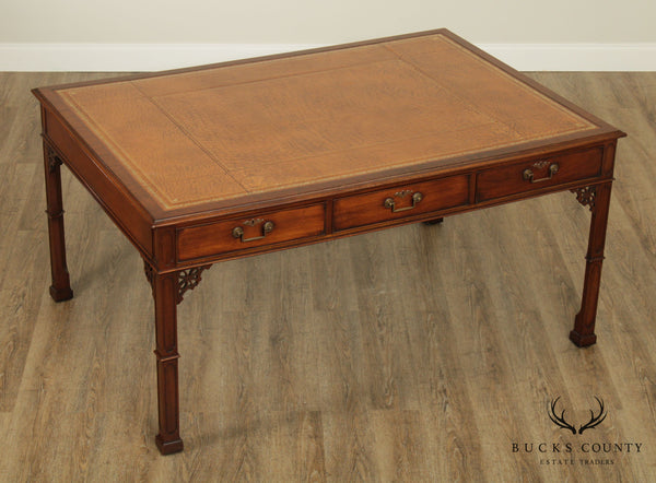 George III Style Custom Mahogany Leather Top Partners Desk Writing Table