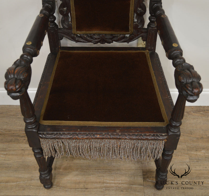 Antique Italian Renaissance Carved Throne Armchair