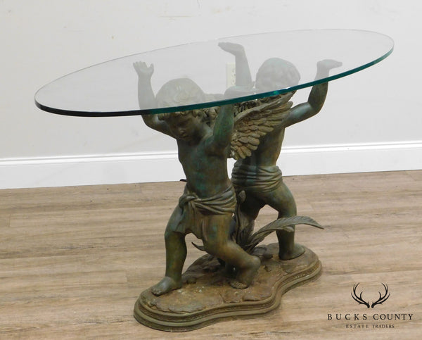 Renaissance Style Figural Bronze Glass Top Console Table with Cherubs Signed Morean