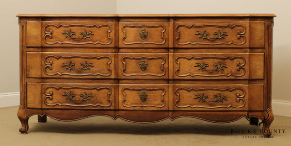 Bodard Vintage French Louis XV Style Walnut 9 Drawer Dresser