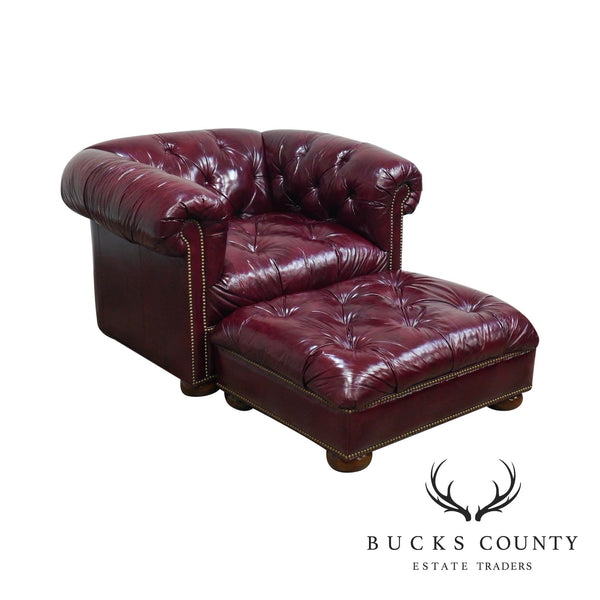 Quality Oxblood Leather Chesterfield Tufted Lounge Chair with Ottoman