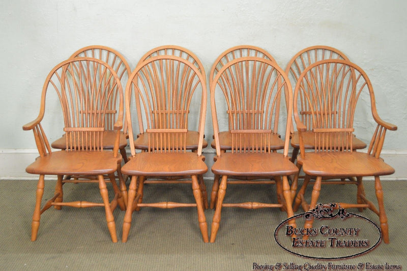 Edrich Mills Set of 8 Hand Crafted Windsor Style Oak Dining Chairs