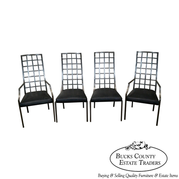 Shaver Howard Riveted Steel Set of 4 Industrial Dining Chairs