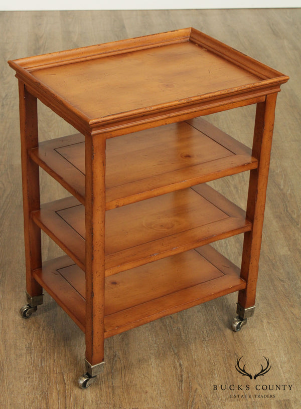 Vanguard Regency Style 4 Tier Small Pine Side Table Cart