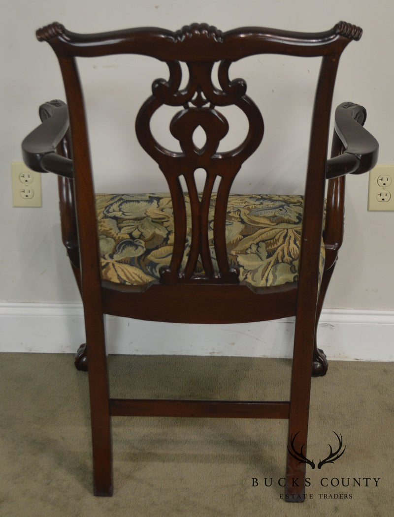 Smith & Watson Chippendale Style Carved Mahogany Ball and Claw Armchair