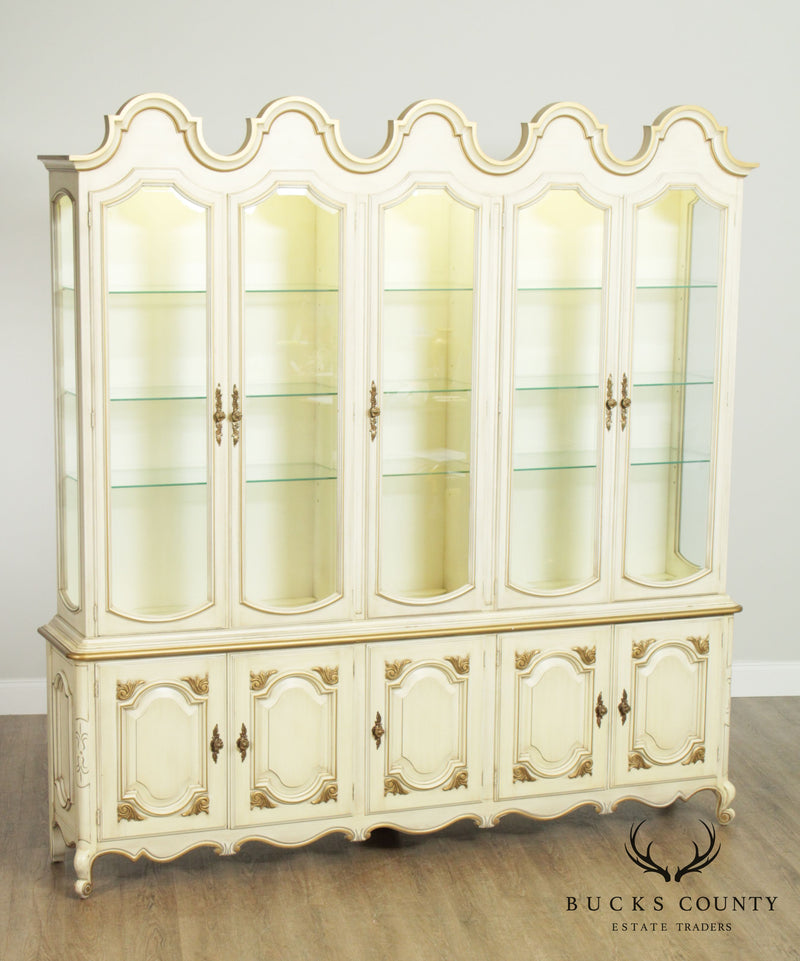 Hollywood Regency Louis XV Style Cream & Gold Painted Display Cabinet