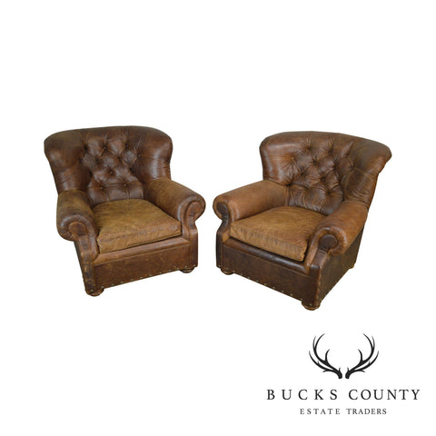 Restoration Hardware Distressed Brown Leather Tufted Pair Churchill Lounge Chairs