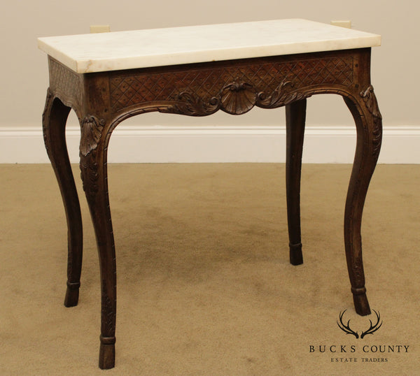 French Louis XV Style Vintage Carved Walnut Marble Top Console Table