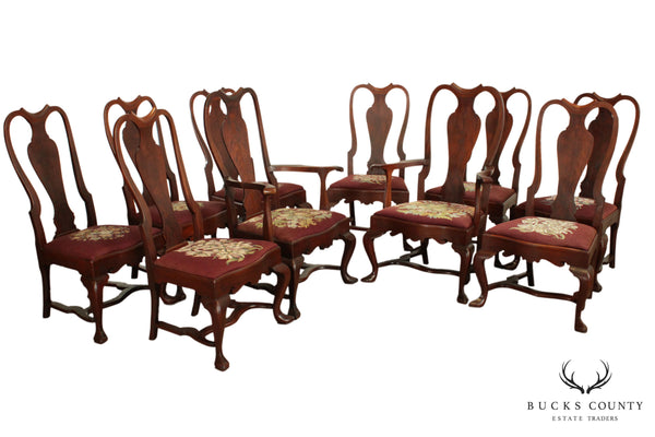 Antique Solid Mahogany Set 10 Queen Anne Style Dining Chairs