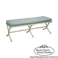 Hollywood Regency Style Faux Bamboo Painted X Base Window Bench