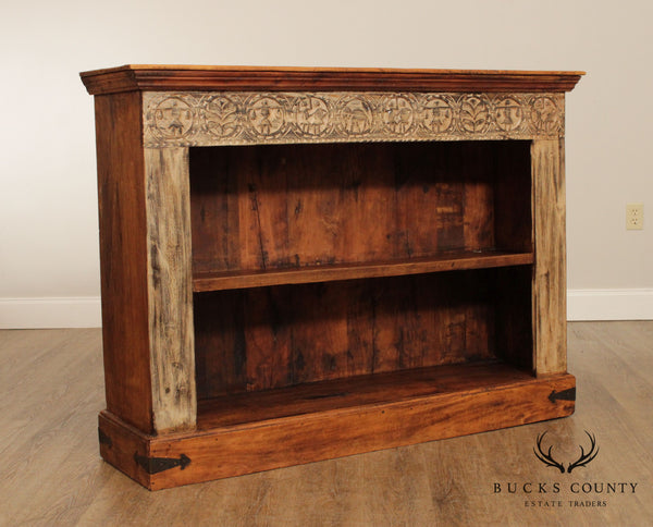 Antique Carved Indian Hardwood Open Bookcase
