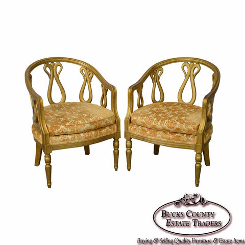 Hollywood Regency Grosfeld House Attributed Pair of Faux Gold Painted Club Chair
