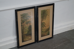 Antique Aesthetic Ebonized Frame Pair of Palm Tree Crane Prints labeled Charles Tabert & Co.